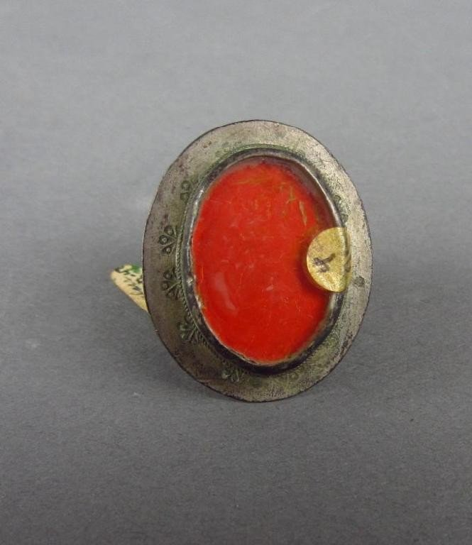 17: SILVER AND GLASS RING, RUSSIAN 17TH CENTURY