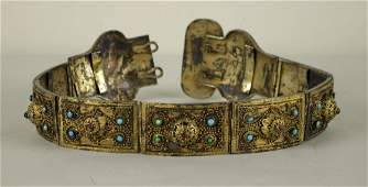 44 RUSSIAN GILT SILVER BELT WITH CABOCHON STONES