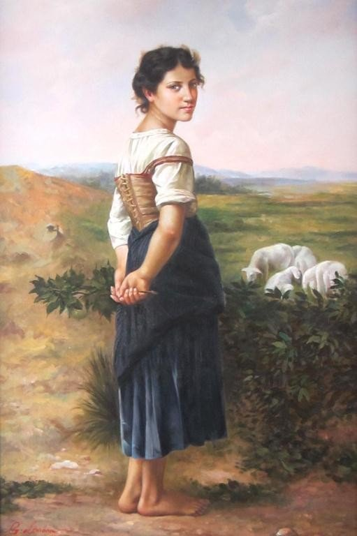 50: CONTEMPORARY PAINTING OF A SHEPHERDESS
