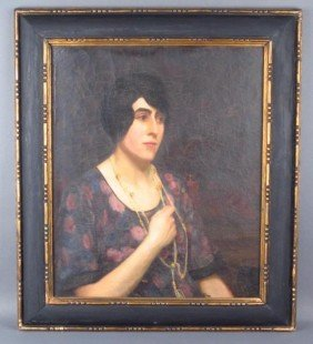 OIL ON CANVAS DECO PORTRAIT OF A LADY