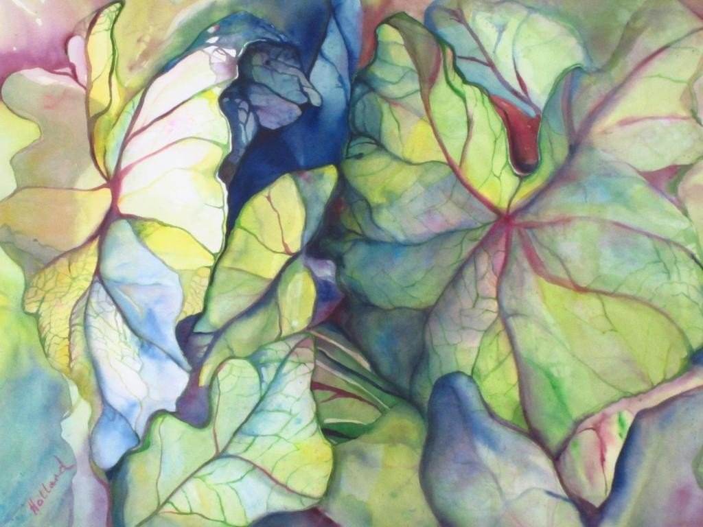 62: WATERCOLOR LEAF PAINTING BY LYNN HOLLAND