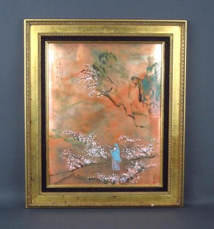 67: ARTIST SIGNED CHINESE ENAMEL COPPER PLAQUE