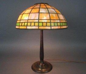 1: TIFFANY STUDIOS LEADED GLASS AND BRONZE LAMP