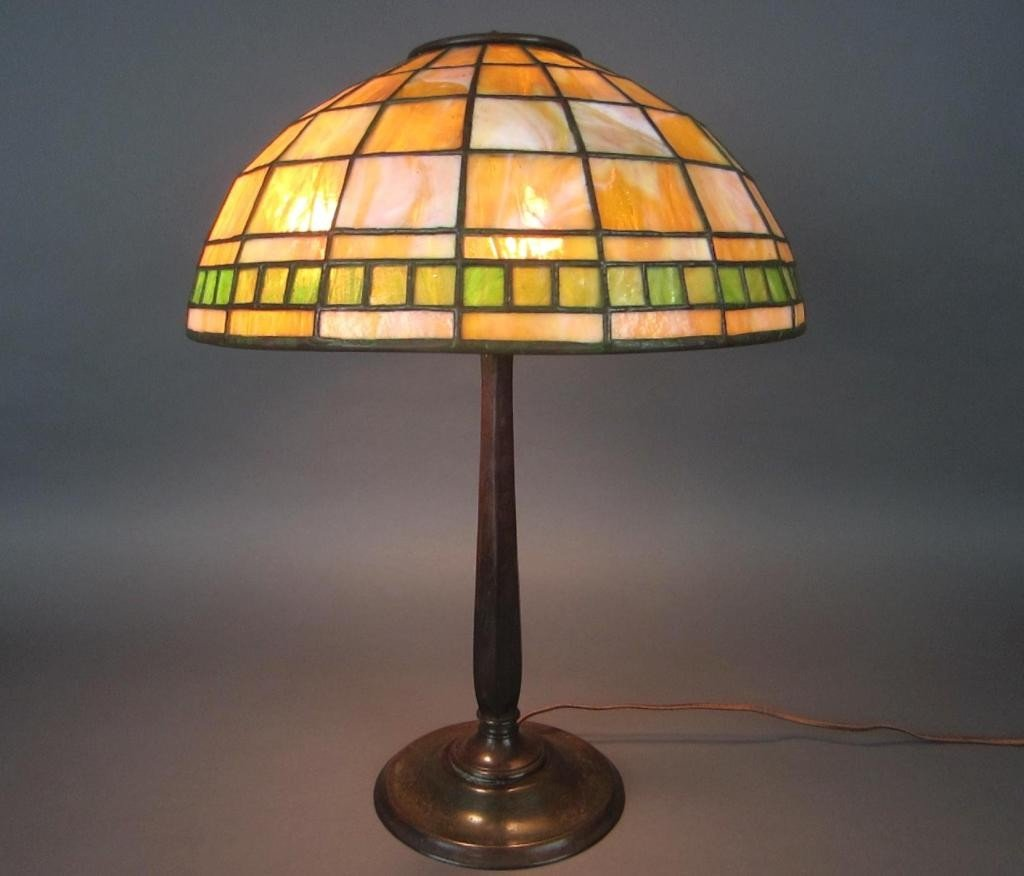 1: TIFFANY STUDIOS LEADED GLASS AND BRONZE LAMP