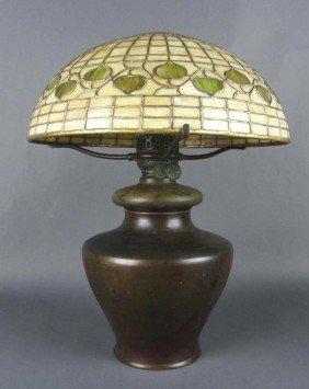 2: TIFFANY STUDIOS ACORN SHADE AND BRONZE OIL LAMP