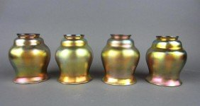 4: FOUR GOLD FAVRILE GLASS SHADES