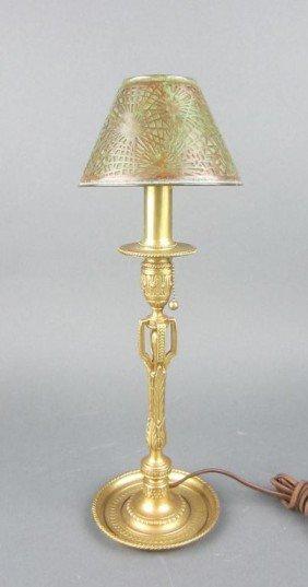 6: TIFFANY STUDIOS BRONZE CANDLESTICK LAMP BASE