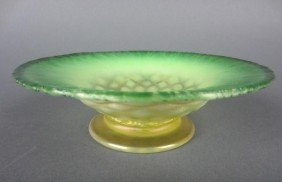 L.C. TIFFANY GREEN FAVRILE GLASS FOOTED BOWL