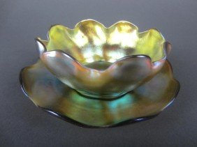 L.C. TIFFANY GOLD FAVRILE GLASS BOWL & UNDERPLATE