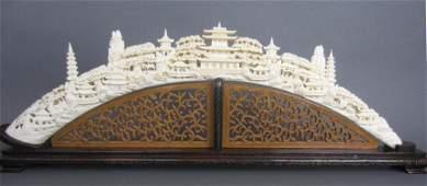 71: LARGE CHINESE IVORY TUSK BRIDGE