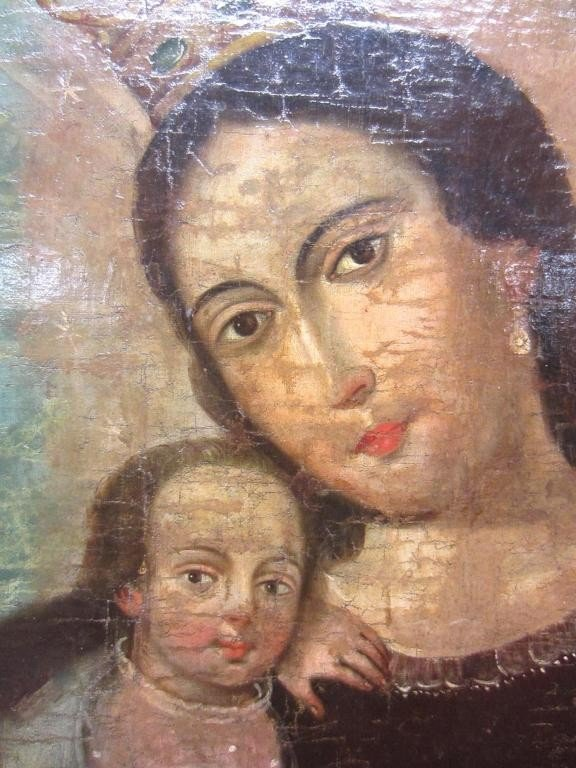 5: SPANISH COLONIAL RETABLO OF THE MADONNA  AND CHILD