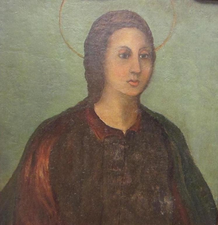 7: ANTIQUE BUST PORTRAIT OF WOMAN WITH HALO
