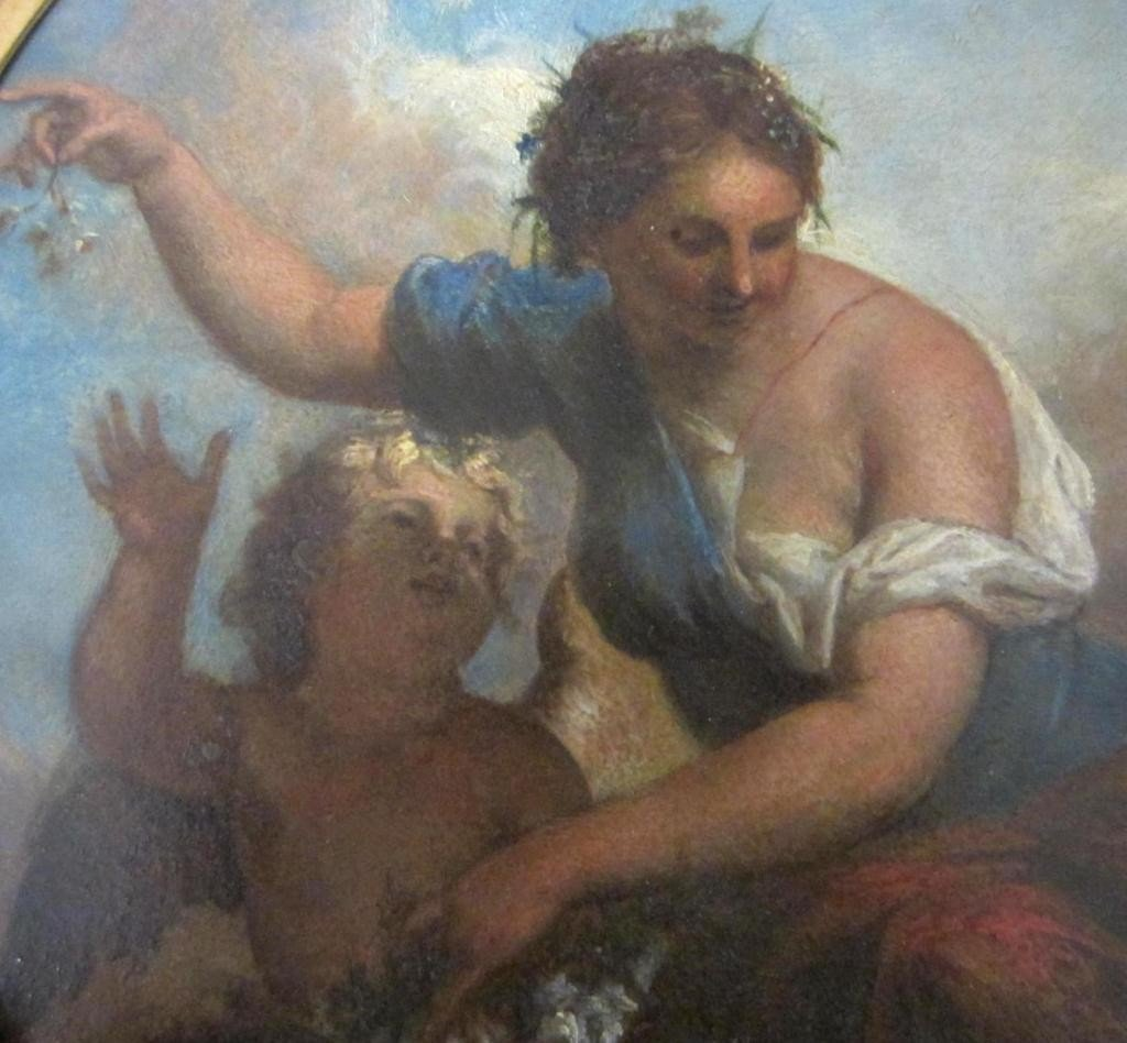 10: OVAL-FORM ALLEGORICAL PAINTING ON TIN