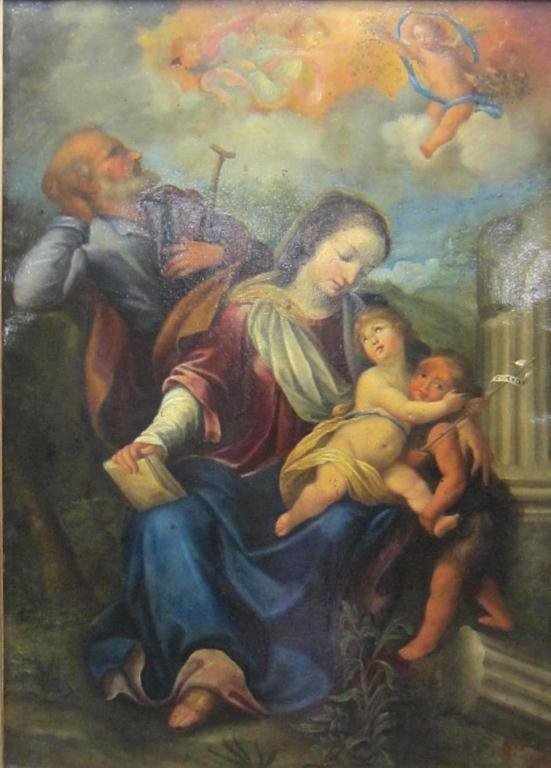 14: OIL ON COPPER PAINTING OF THE HOLY FAMILY