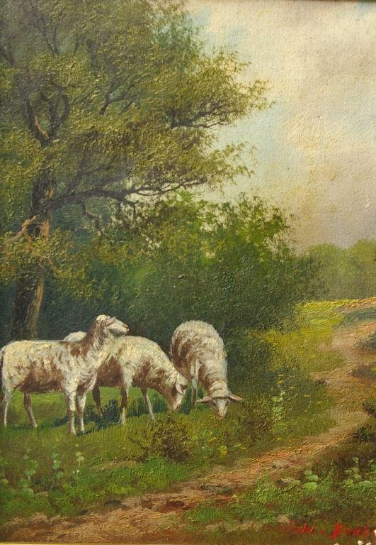 18: VINTAGE SHEEP PAINTING SIGNED BONHEUR
