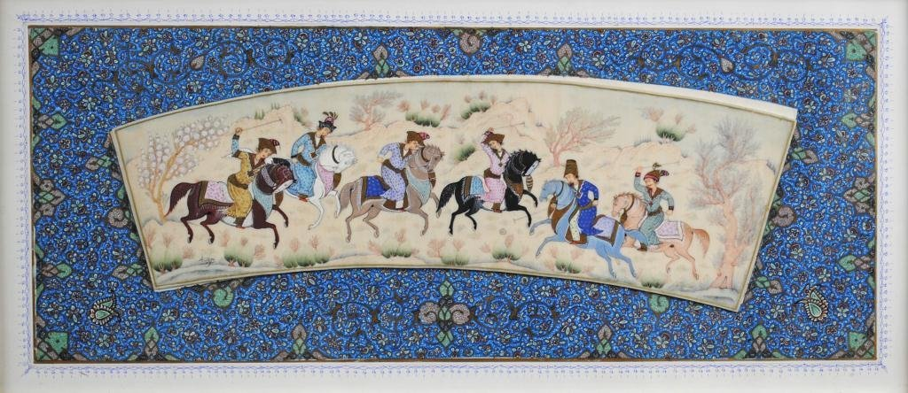 33: SIGNED PERSIAN POLO PAINTING ON IVORY OR BONE