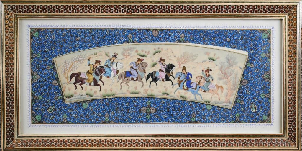 33: SIGNED PERSIAN POLO PAINTING ON IVORY OR BONE - 2