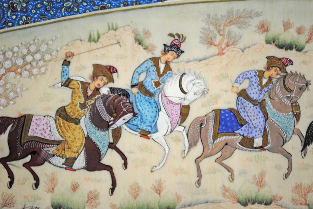33: SIGNED PERSIAN POLO PAINTING ON IVORY OR BONE - 3