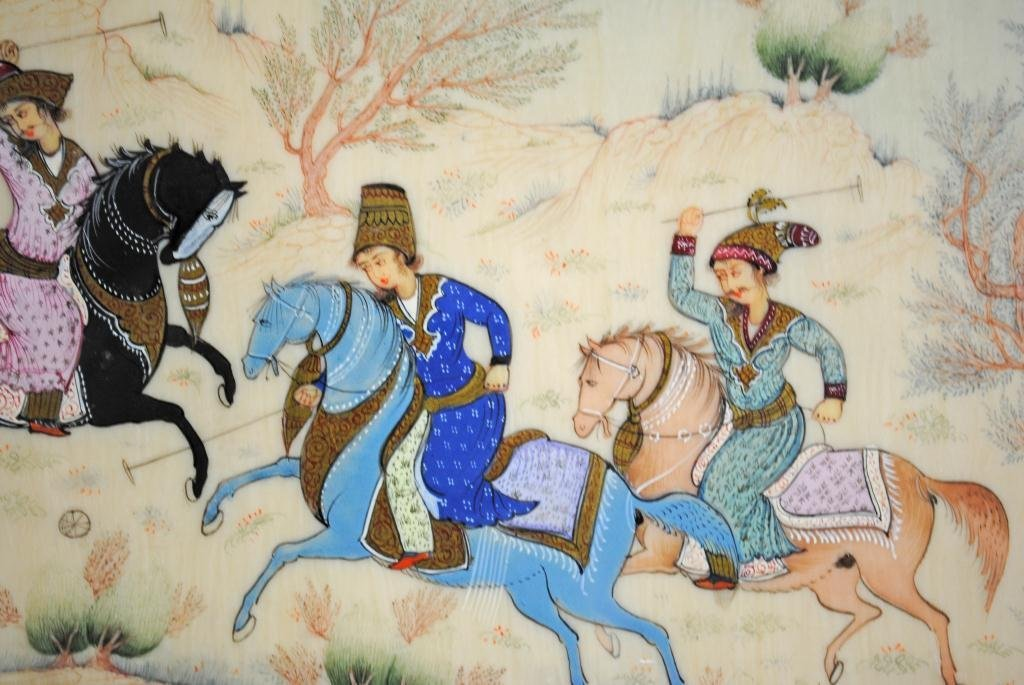 33: SIGNED PERSIAN POLO PAINTING ON IVORY OR BONE - 4
