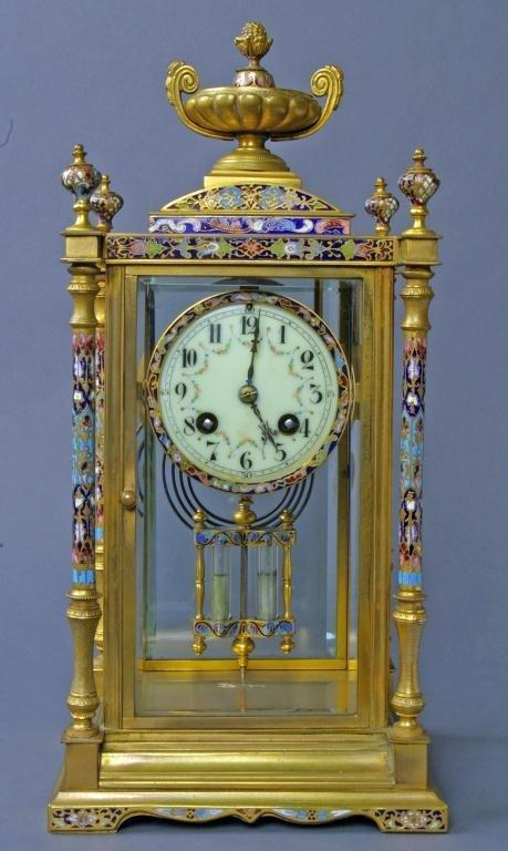 254: FRENCH BRONZE & CHAMPLEVE CRYSTAL REGULATOR CLOCK