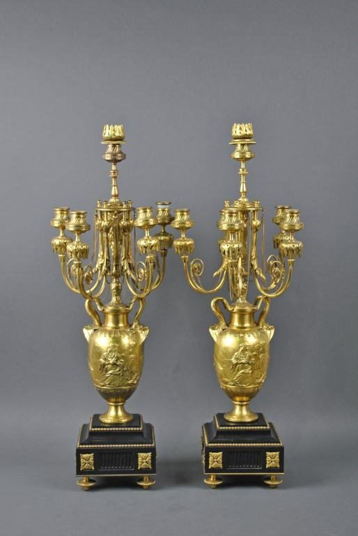 8: PAIR OF FRENCH BRONZE URNS SIGNED F. BARBEDIENNE