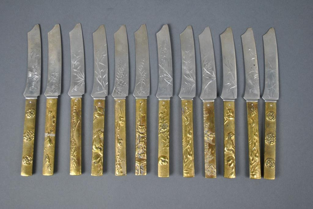 16: 12 JAPANESE-STYLE STERLING FRUIT KNIVES BY GORHAM