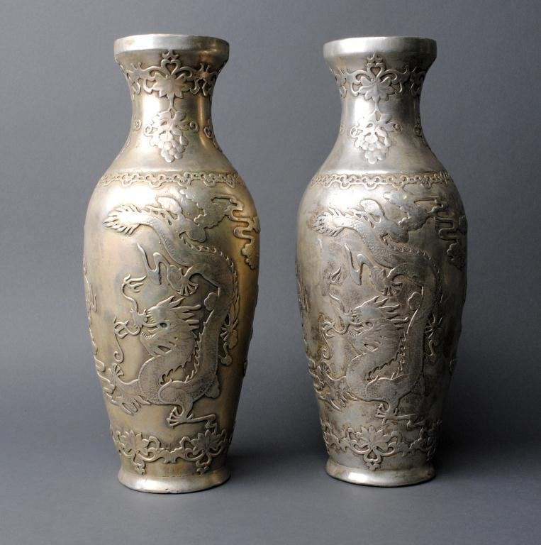 19: PAIR OF CHINESE SILVERED BRONZE VASES