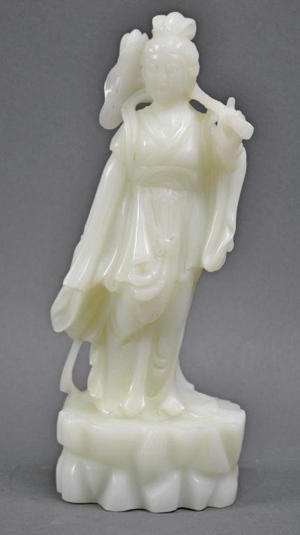 24: CHINESE WHITE JADE CARVED FIGURE OF A GUANYIN