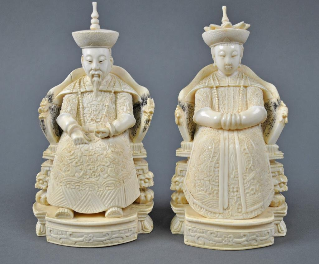 27: PAIR OF CHINESE CARVED IVORY ANCESTRAL FIGURES