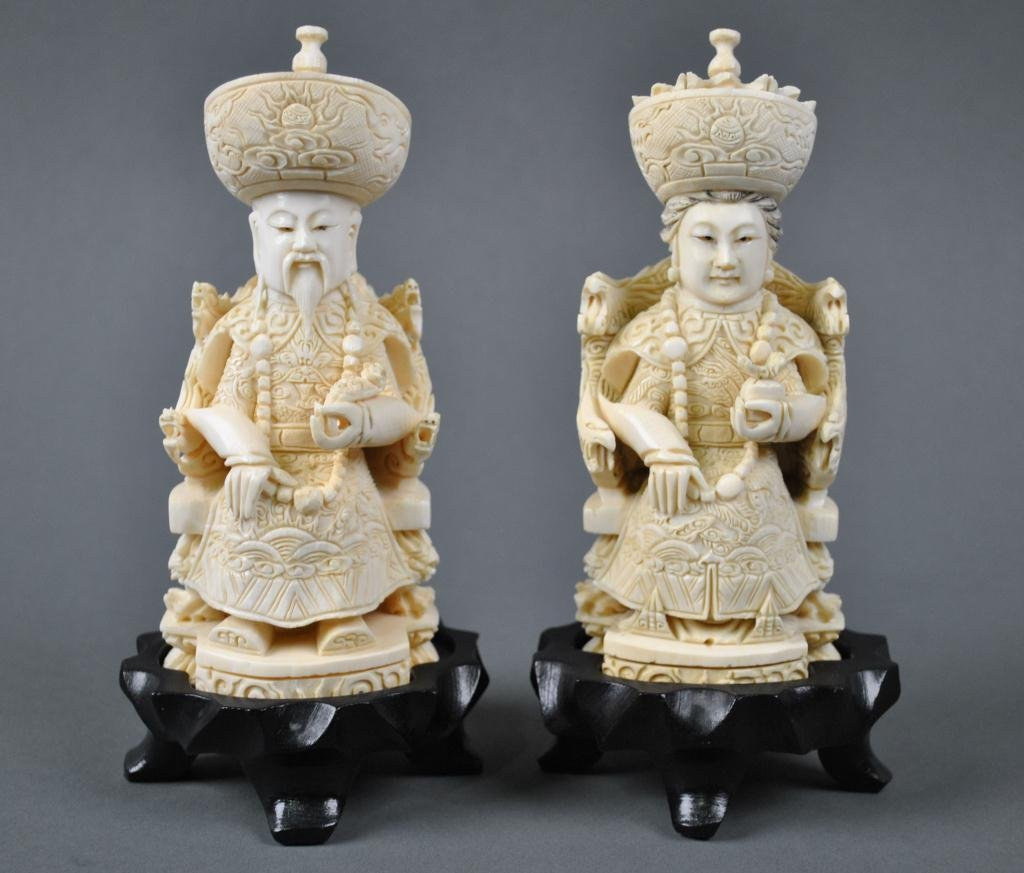 29: PAIR OF CHINESE CARVED IVORY ANCESTRAL FIGURES