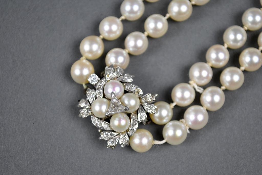 36: DOUBLE-STRAND PEARL NECKLACE WITH DIAMOND CLASP