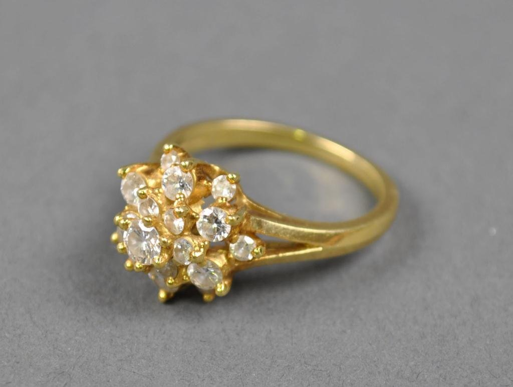 37: TIFFANY GOLD AND DIAMOND CLUSTER RING
