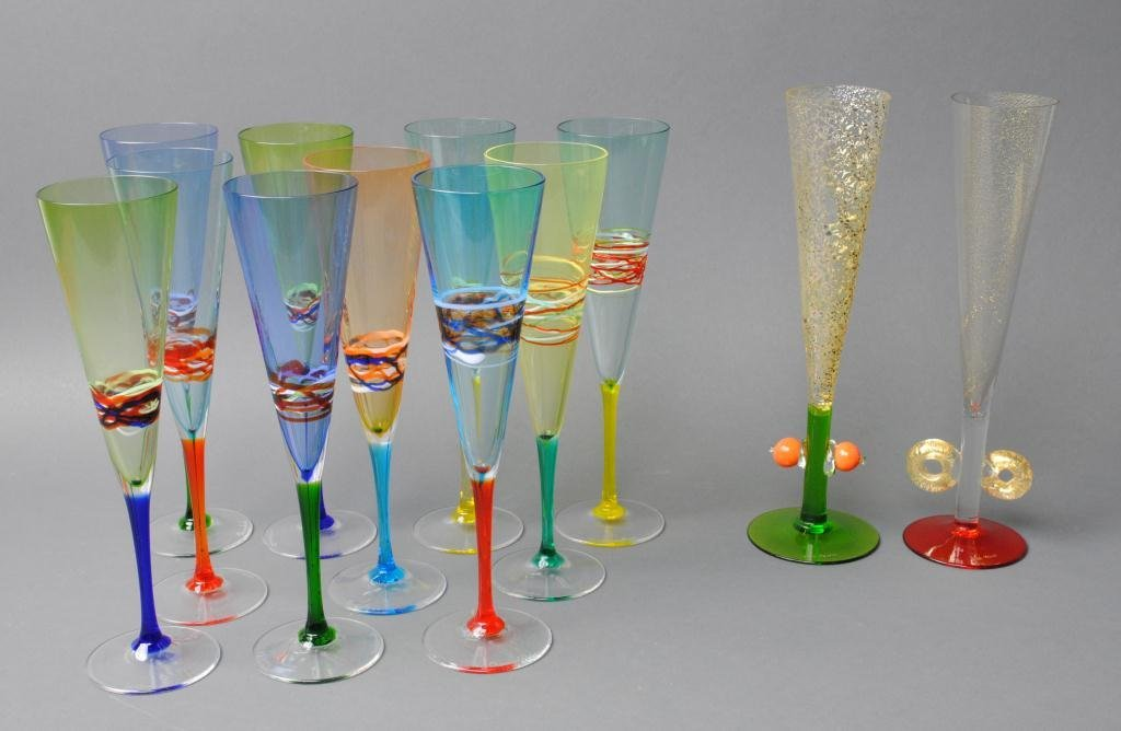 44: TWELVE MURANO ART GLASS CHAMPAGNE FLUTES