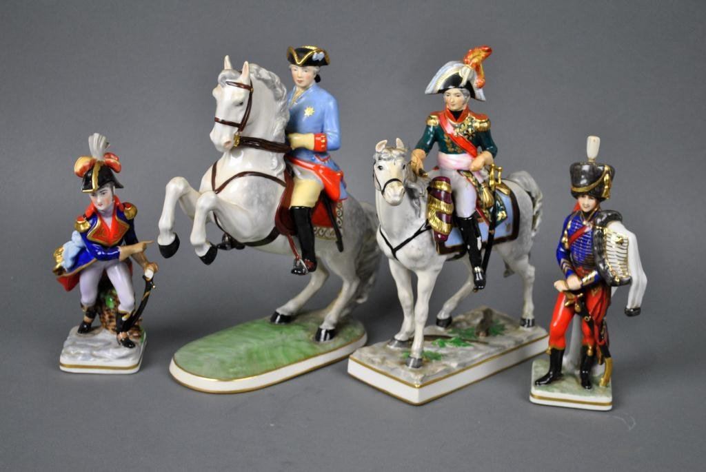 48: FOUR FRANKENTHAL MILITARY FIGURES