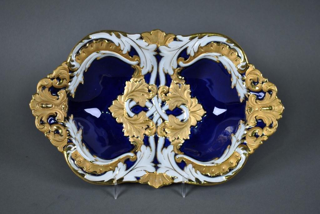 52: MEISSEN COBALT BLUE AND WHITE GILT BOWL