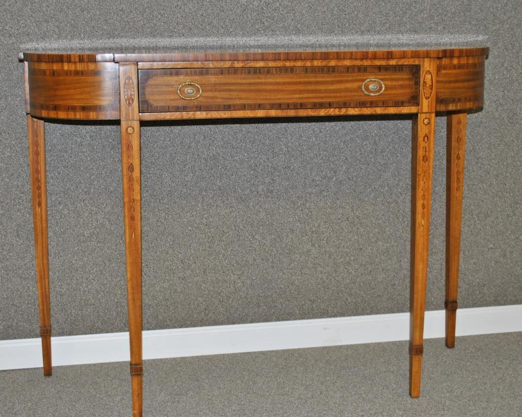 54: MAITLAND SMITH SATINWOOD INLAID CONSOLE TABLE