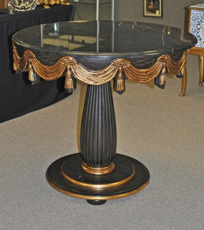 56: CONTEMPORARY BLACK MARBLE-TOP CENTER TABLE