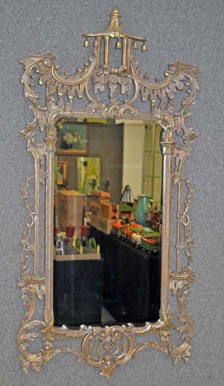 65: ASIAN-STYLE GOLD-PAINTED WALL MIRROR