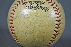 SIGNED 1952 BROOKLYN DODGERS BALL INCL J ROBINSON