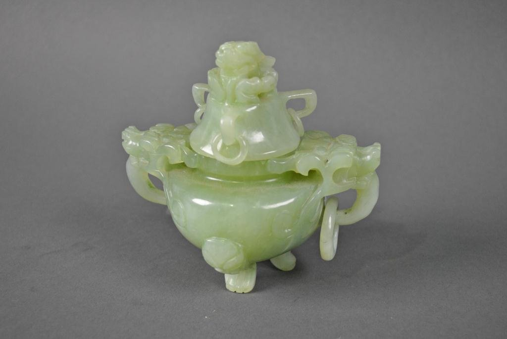 92: CHINESE CARVED STONE CENSER WITH COVER