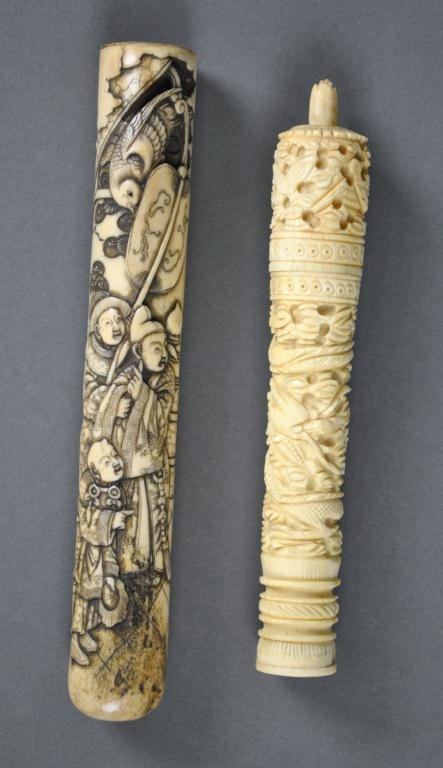 94: TWO ASIAN CARVED IVORY ARTICLES