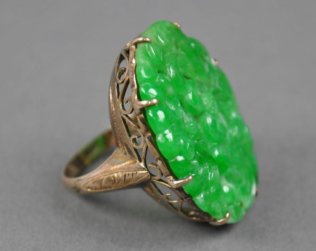 179: CARVED JADE RING