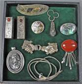 301: 10-PIECE SILVER AND SILVERTONE JEWELRY GROUP