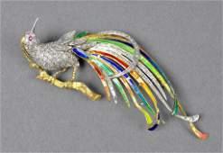 66: DIAMOND AND ENAMELED BIRD OF PARADISE BROOCH