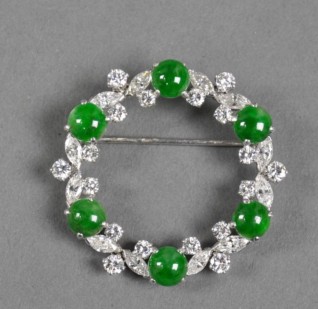 5: PLATINUM, JADEITE & DIAMOND PIN BY RAYMOND YARD