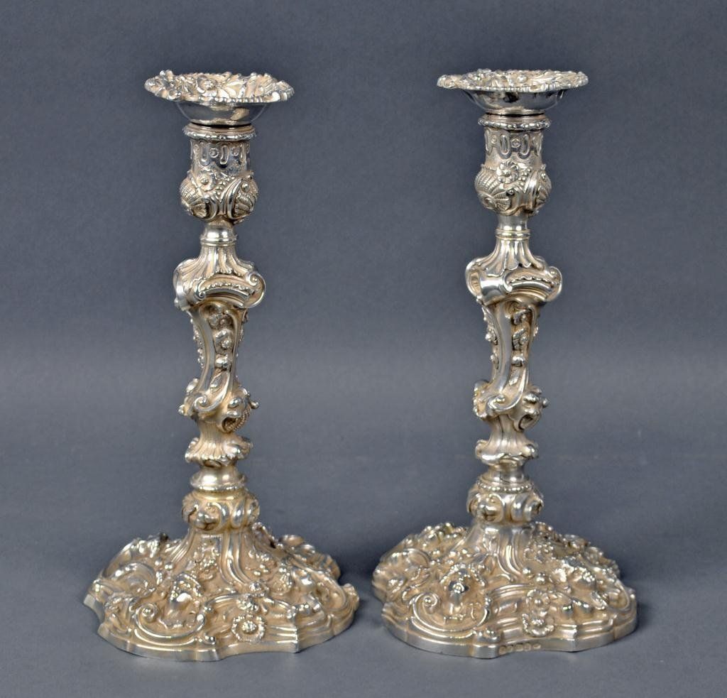 7: PAIR OF ANTIQUE ENGLISH STERLING CANDLESTICKS