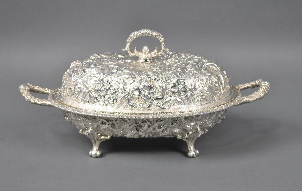 18: S. KIRK & SON SILVER OVAL COVERED VEGETABLE DISH