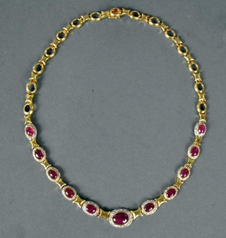 13: RUBY AND DIAMOND FANCY LINK NECKLACE, 11.0CTW