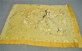 113 LARGE CHINESE ANTIQUE EMBROIDERED SILK PANEL