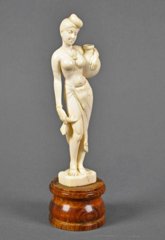 CARVED IVORY FIGURE - WOMAN WITH JUG